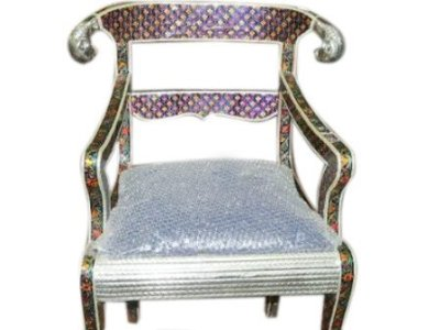 White Metal Cladded Lacquer Hand Paint Wooden Indian Decorative Indoor Chair $599.00