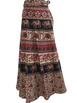 Women Red Elephant & Peacock Print Wrap Around Skirt  $28.95