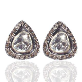 Rose Cut Diamond 14K Gold Silver Stud Ethnic Style Earrings Jewelry