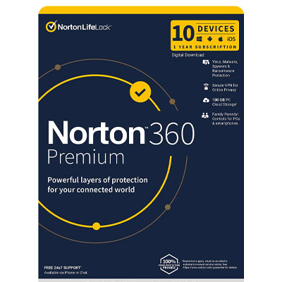 NORTON 360 Premium – 1 year for 10 devices