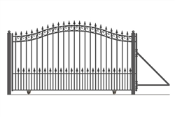 PRAGUE Style Single Slide Steel Driveway Gate 12' X 6 1/4'