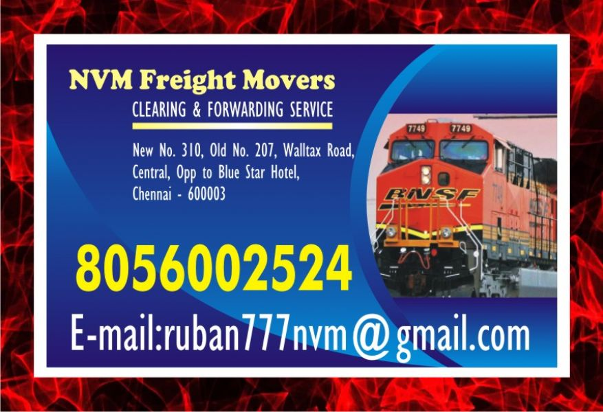 Leading  NVM freight Movers No. one in Chennai Freight Movers  | Rs 7/-  per KG