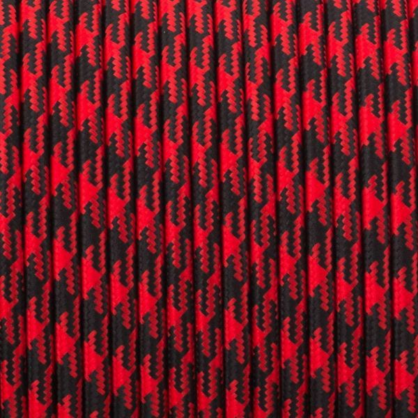 Vintage Red And Black Hundstooth Fabric 3 Core Round Italian Braided Cable