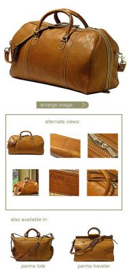 Floto Parma Edition Leather Bag  With Stainless Zippers