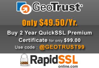 GeoTrust QuickSSL Premium only $49.50Yr
