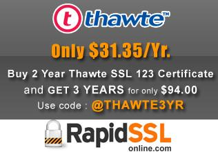 Buy Thawte SSL123 Certificate only $31.35/Yr