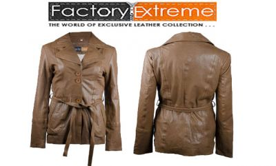 FactoryExtreme - Brown Leather Jacket Women