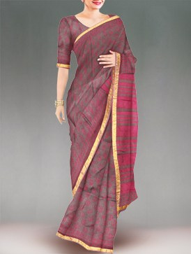 Online shopping Party grey pure handloom Kota silk saree from unnati silks.