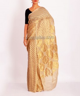 Online shopping for pure cream banarasi sarees by unnatisilks