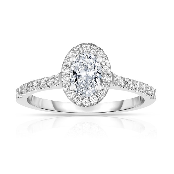 Buy 14K White Gold Oval Diamond Halo Engagement Ring