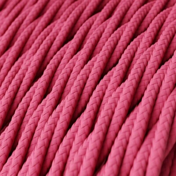 Rose Pink 3 Core Twisted Vintage fabric Cable Flex 0.75mm