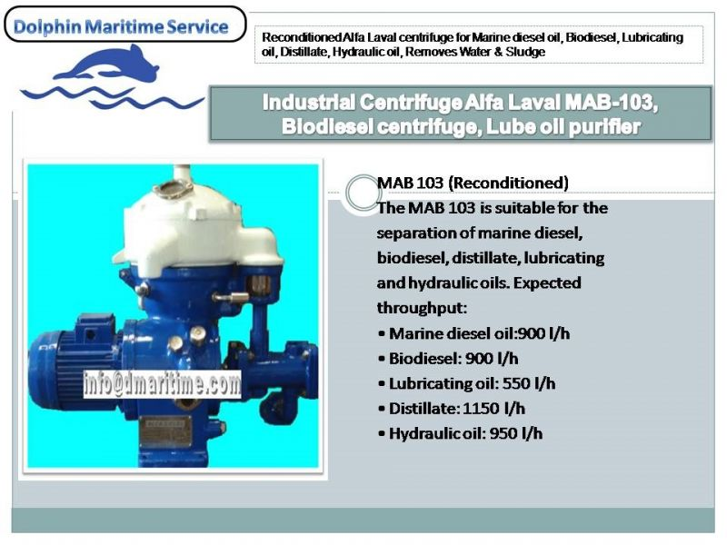 Industrial Centrifuge Alfa Laval MAB-103, Biodiesel centrifuge, Lube oil purifier