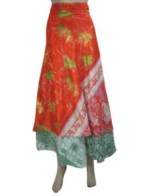 Floral Printed Reversible Two Layer Long Skirt Wrap Dress  $27.95