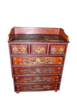 Red Lotus Floral Motifs Hand Painted Cabinet India Furniture $788.00