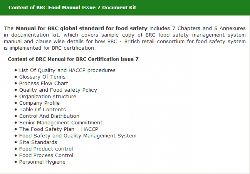 BRC-Food issue 7 Certification Manual