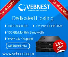 Vebnest Offers – VPS Hosting  with 25% Discount on Monthly Plans