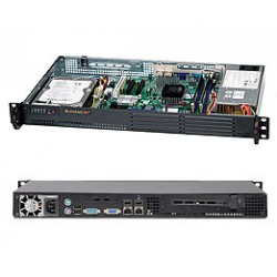 Supermicro 1U 502L D525 Atom, 1.8GHz 1MB Cache, 4GB Max RAM, 1 3.5' Fixed Disk Server