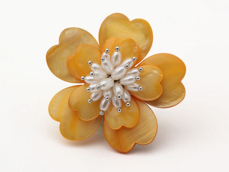 Yellow Shell and White Freshwater Pearl Flower Brooch