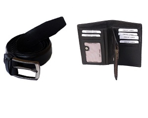 Leather Wallet and Belt Bundle @Size 32 - 40