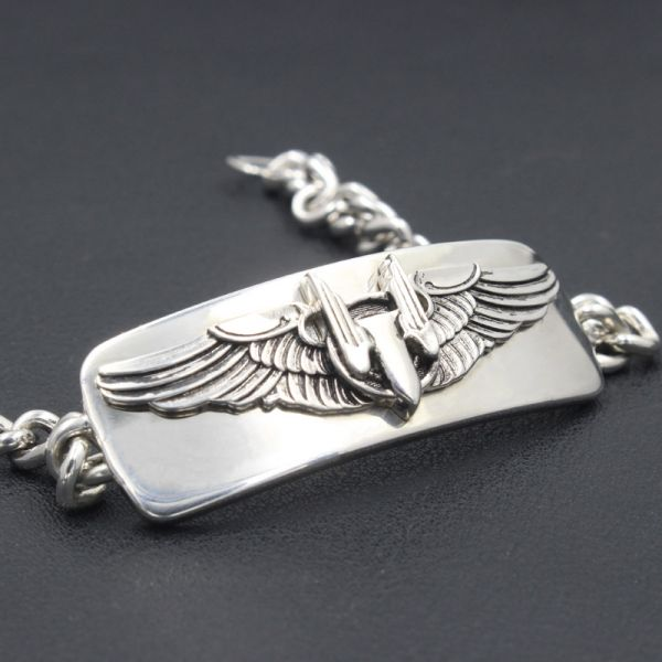 Mens Us Army Air Force Aerial Gunner wing Sterling Silver Bracelet Bangle