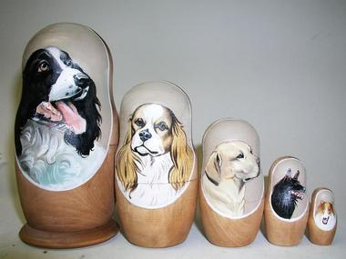 A beautiful russian nesting dolls with animals and birds at very exciting price